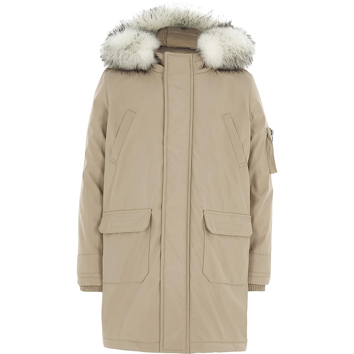 Boys stone faux fur trim hood parka coat