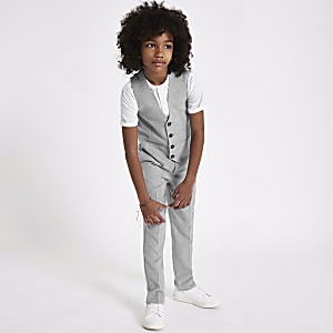 Boys grey check suit vest