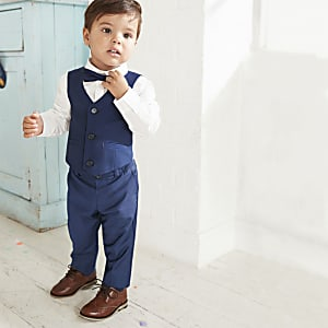 Mini boys navy shirt and trousers suit set