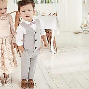 Mini boys grey check four piece suit set