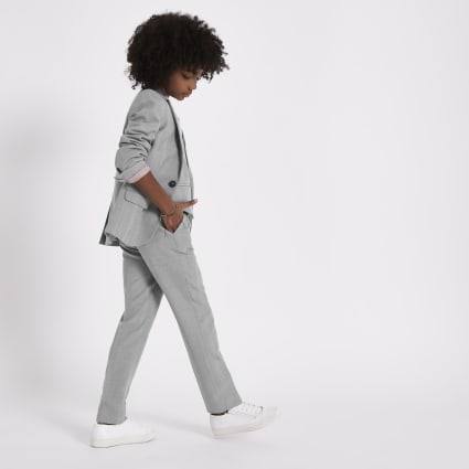 Boys grey check suit trousers