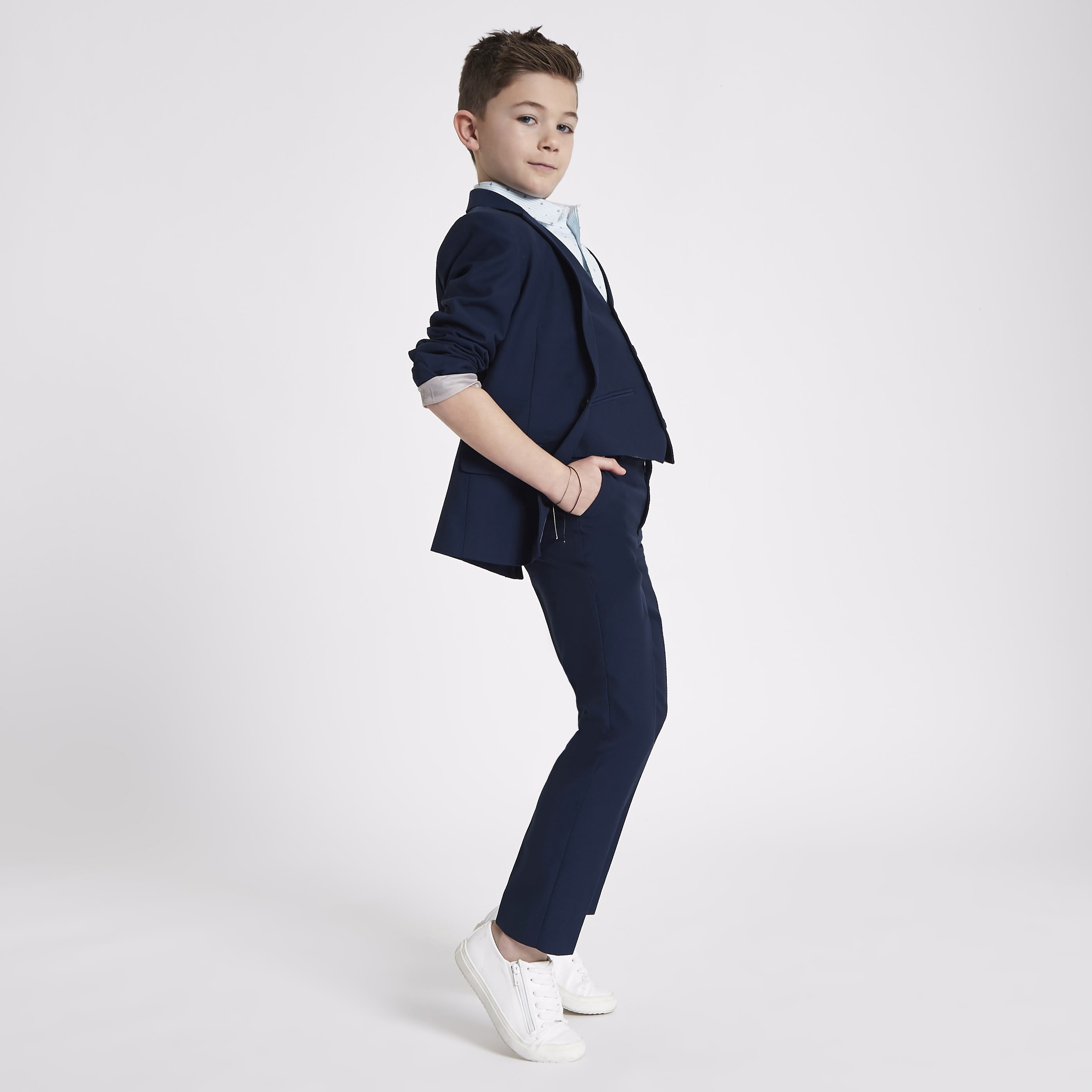 RIVER ISLAND | Mens Boys Navy suit trousers | Goxip