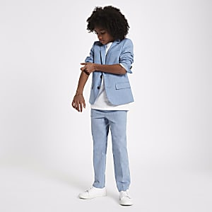 Boys blue suit pants with linen