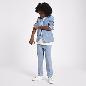 Pantalon de costume en lin bleu pour garçon