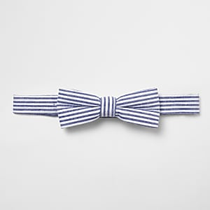 Boys blue stripe bow tie