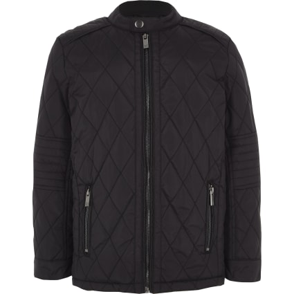 Boys black quilted racer jacket