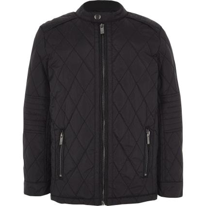 Boys black quilted racer jacket