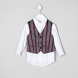 Mini boys red stripe waistcoat and shirt set