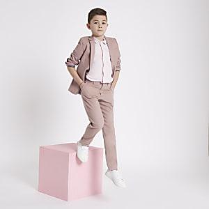 Boys pink slim fit suit trousers