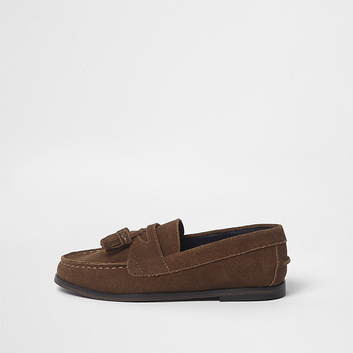 Boys tan suede tassel loafers
