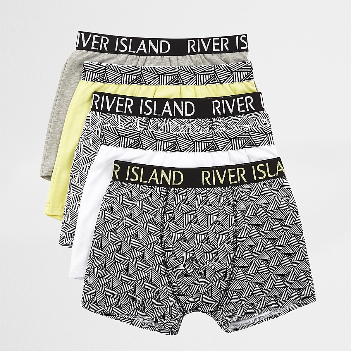 Boys lime geo print boxers multipack