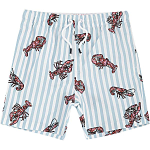 Boys blue lobster print swim trunks
