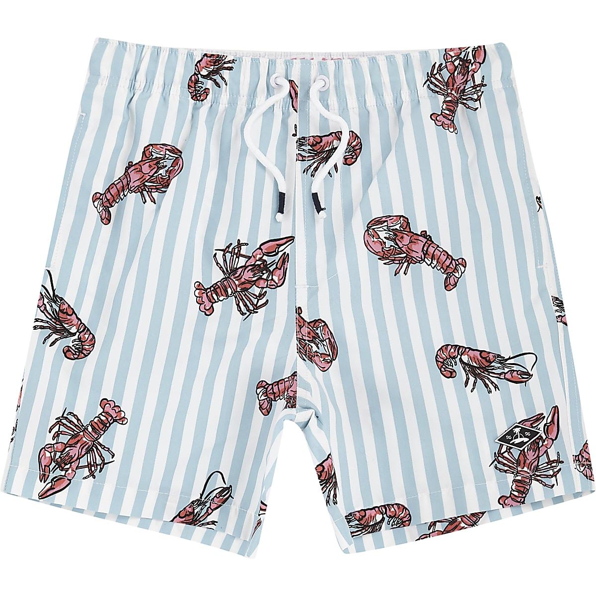 Boys blue lobster print swim shorts