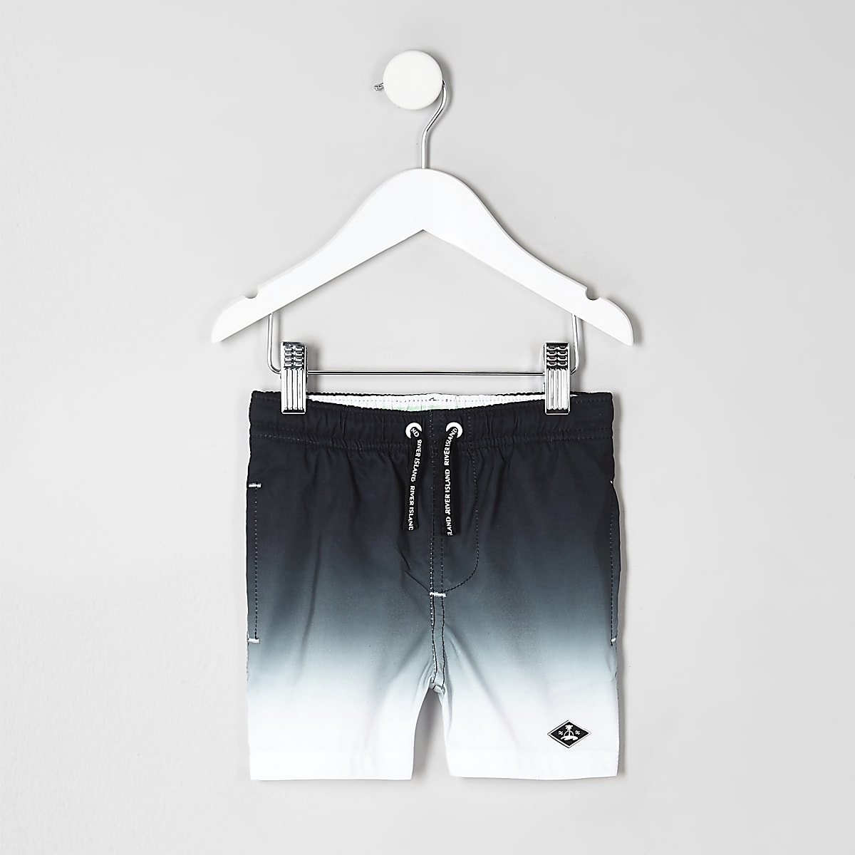Mini boys black dip dye swim trunks