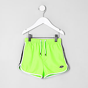 Mini boys lime green swim trunks