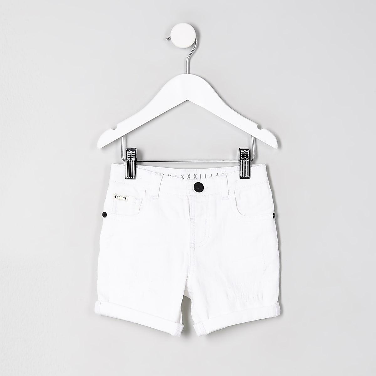 Mini boys Dylan white denim shorts