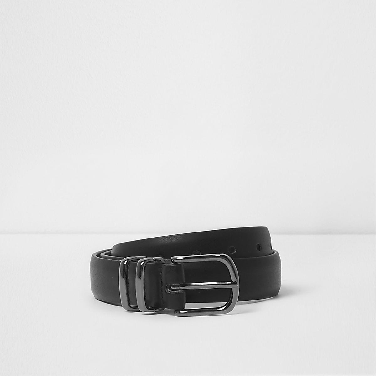 Boys black double keeper buckle belt