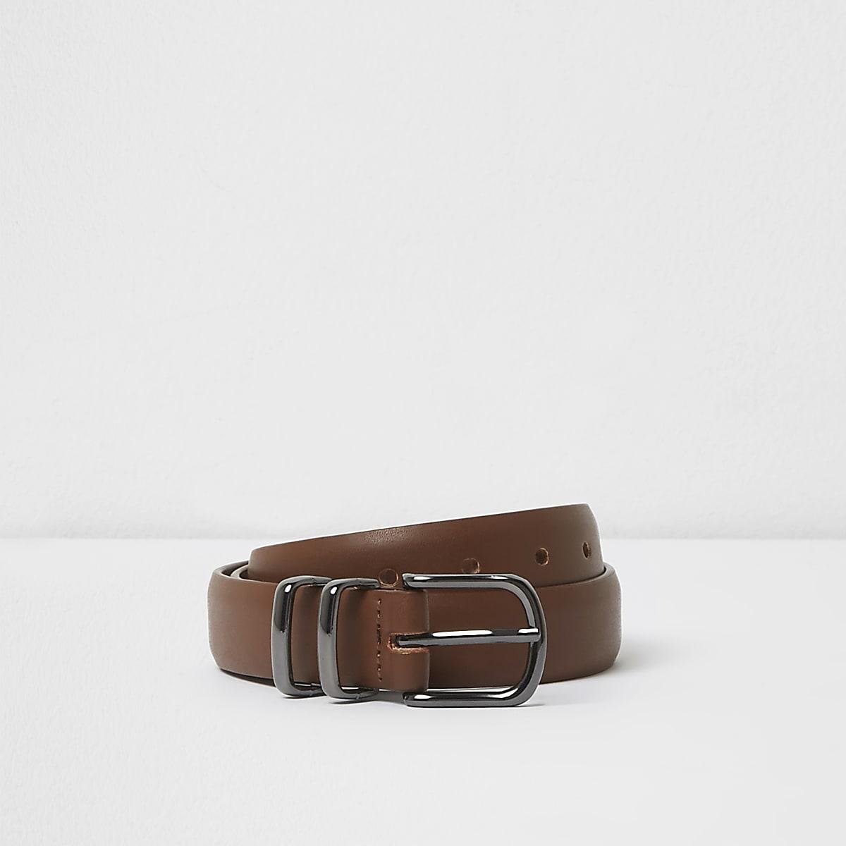 Boys brown double keeper buckle belt