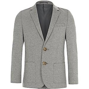 Grau melierter Jersey-Blazer