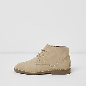 Boys beige lace-up desert boots
