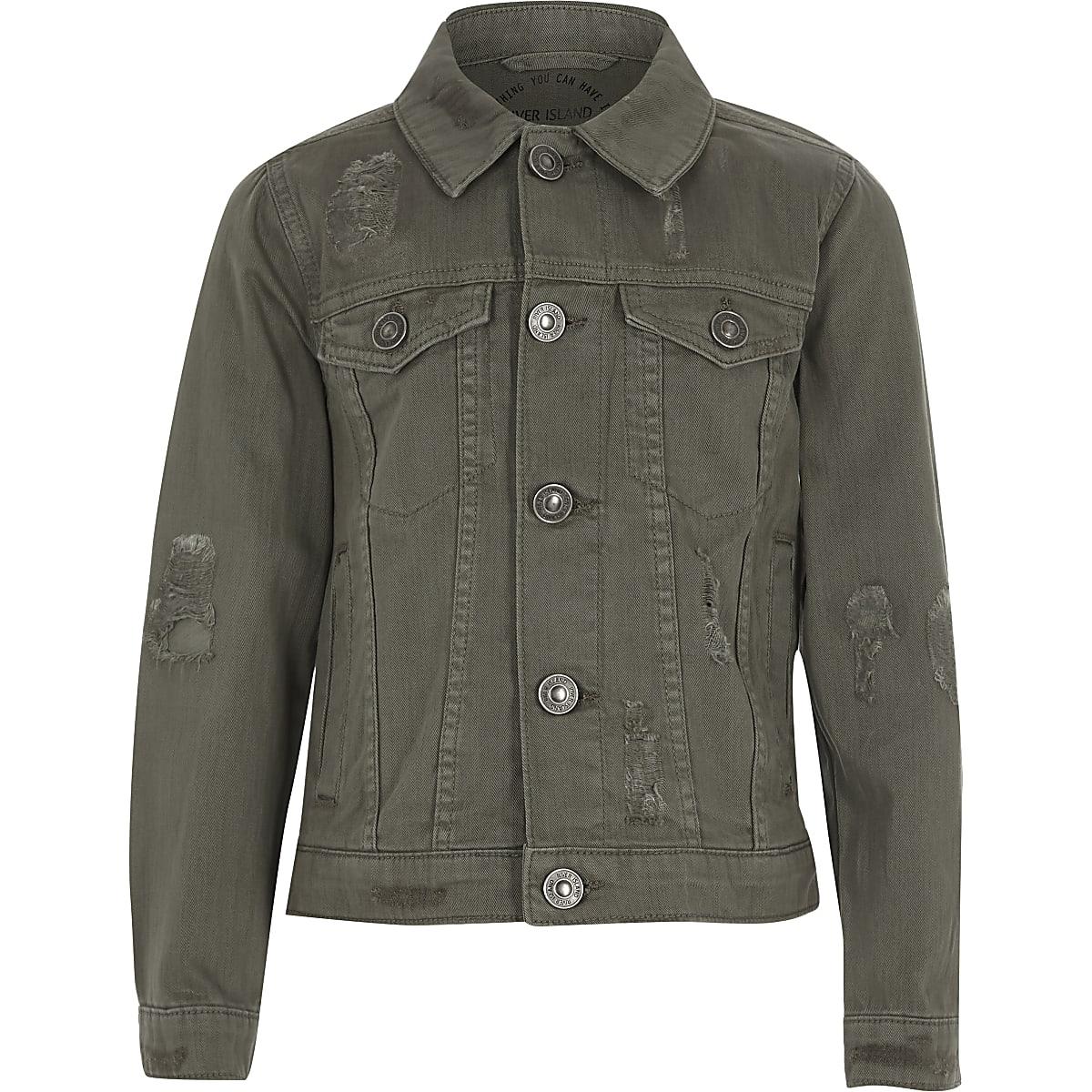 Boys khaki denim trucker jacket