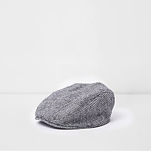 Mini boys grey check flat peak cap