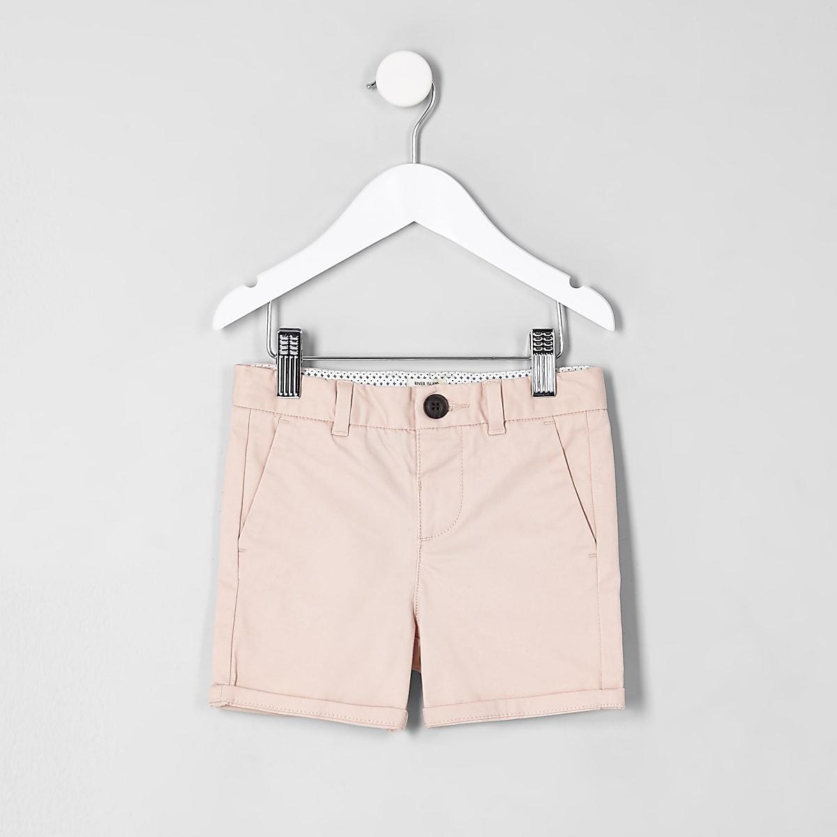 Mini boys pink chino shorts