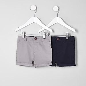Mini - Multipack marineblauwe en grijze chinoshort voor jongens