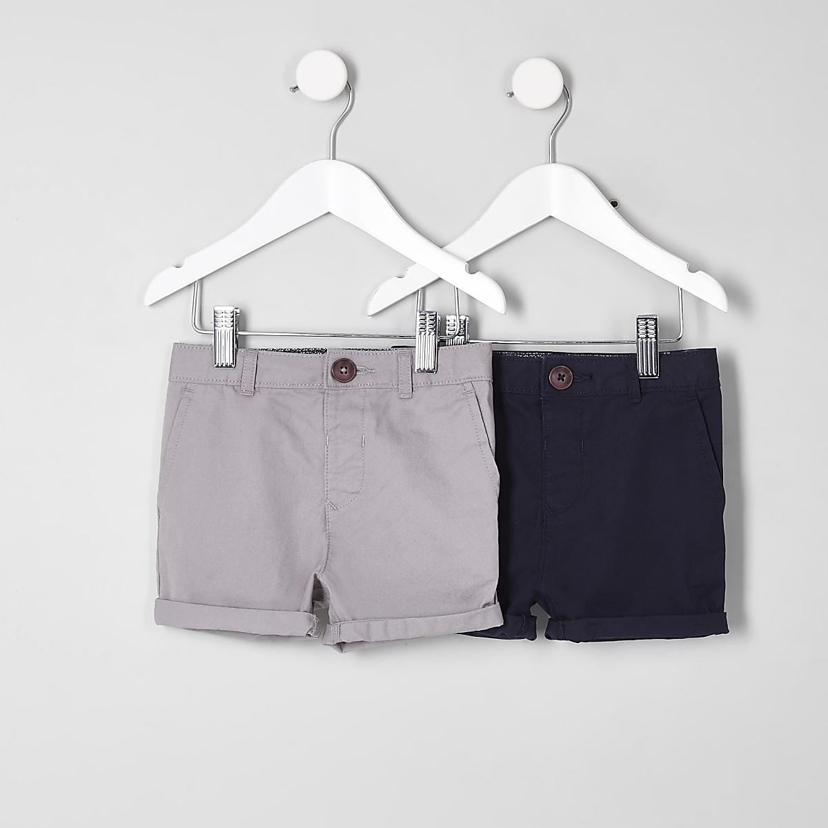 Lot de shorts chino bleu marine et gris mini garçon