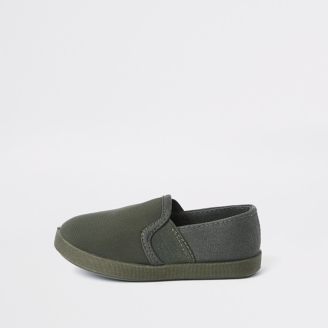 Mini boys khaki slip on plimsolls