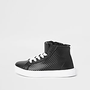 Boys black textured high top sneakers