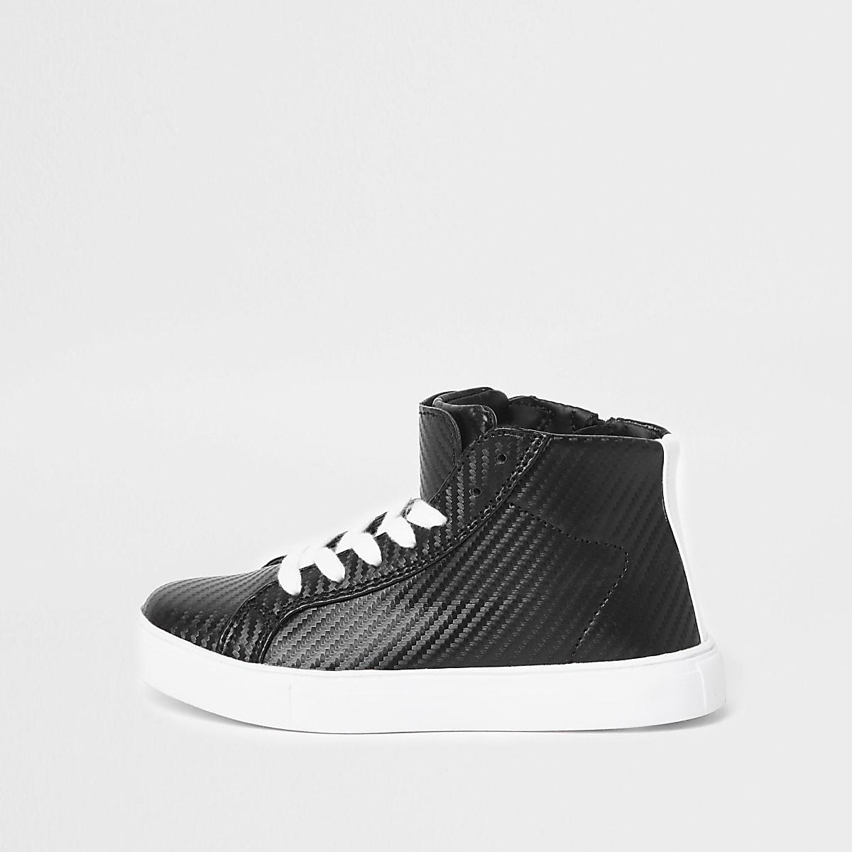 Boys black textured high top sneakers