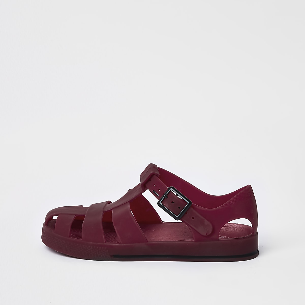Boys dark red jelly cage sandals