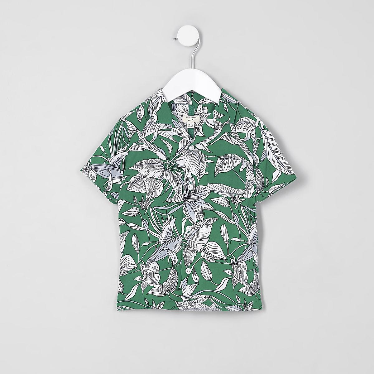 Mini boys green leaf print shirt