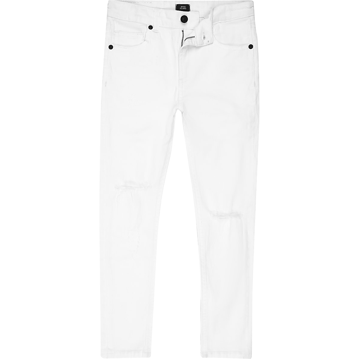 Boys white Danny super skinny ripped jeans