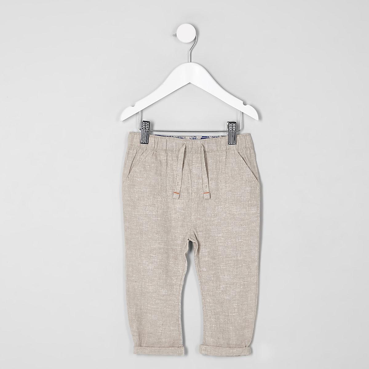 Mini boys stone linen trousers