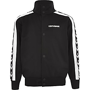 Boys Converse black popper tracksuit top