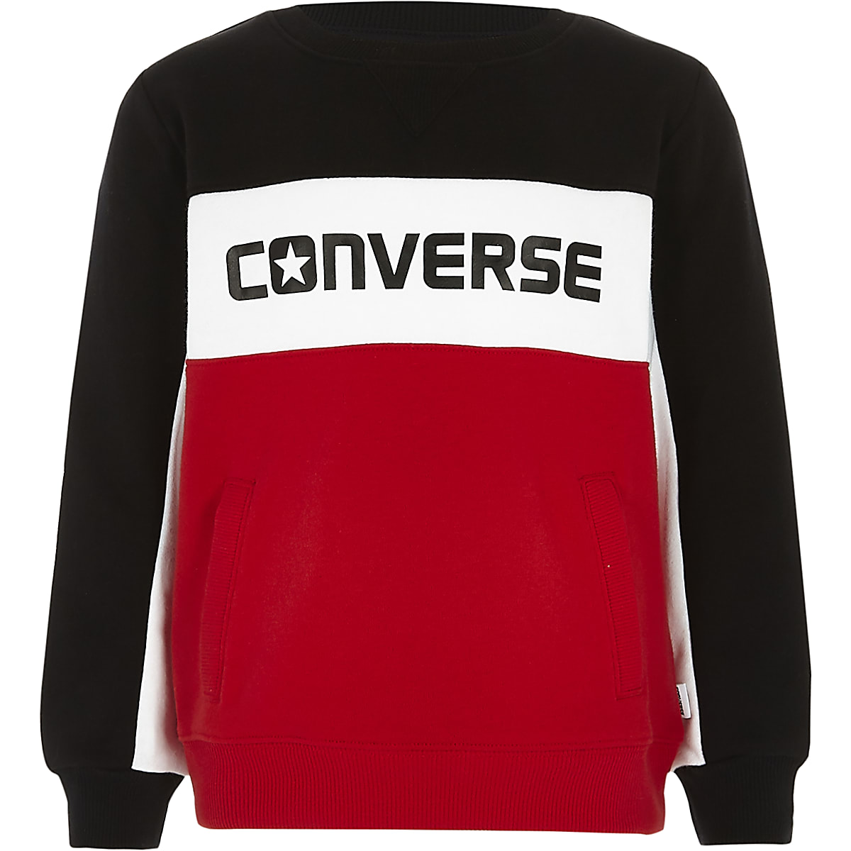 b10440331a98 Boys Converse red colour block sweatshirt - Hoodies   Sweatshirts - boys