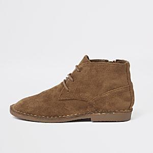 Bruine desert boots van imitatiesuède voor jongens