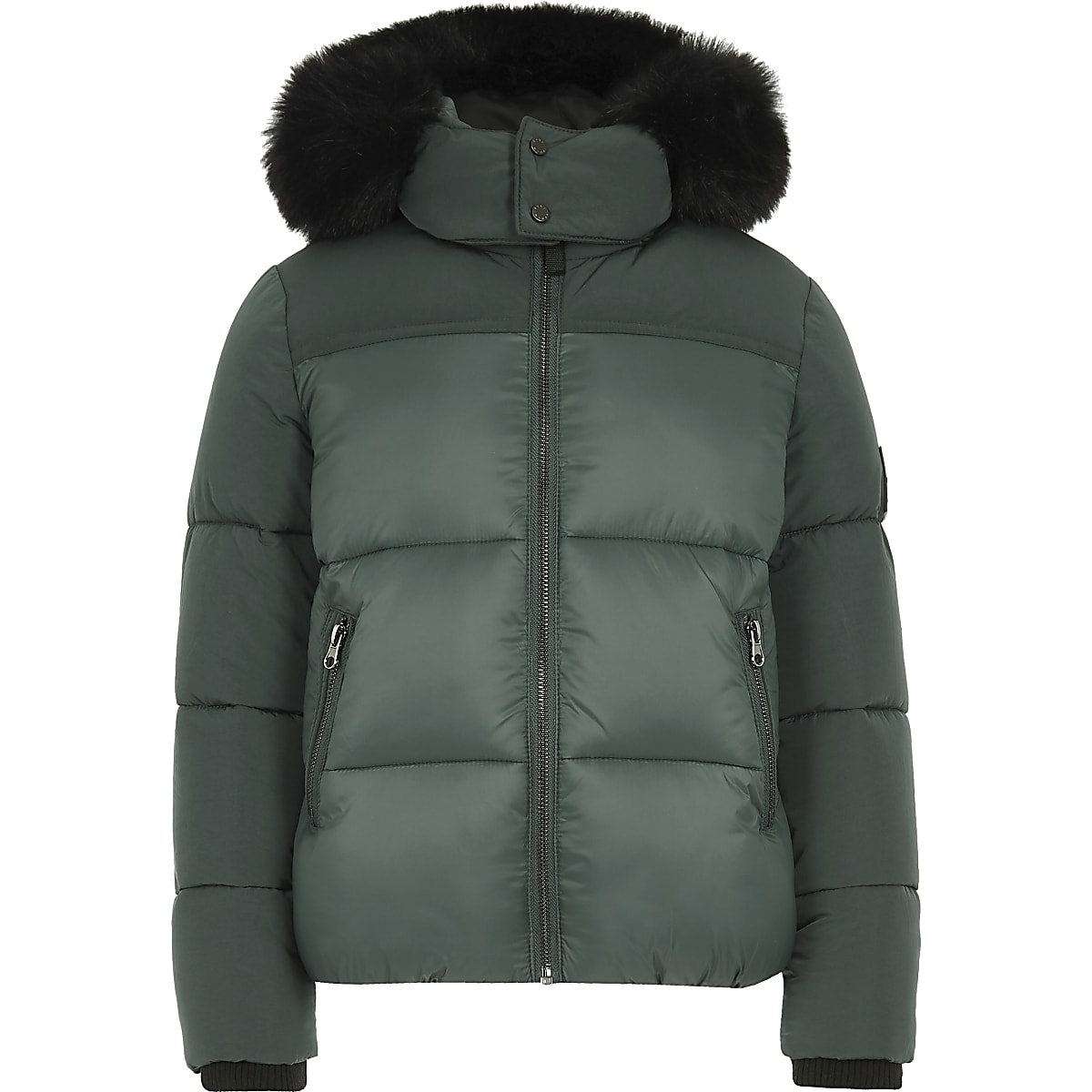 9ae7d5a0e44 Boys green faux fur hood puffer coat - Coats - Coats & Jackets - boys
