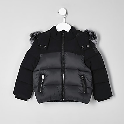 Mini boys black faux fur hooded puffer jacket