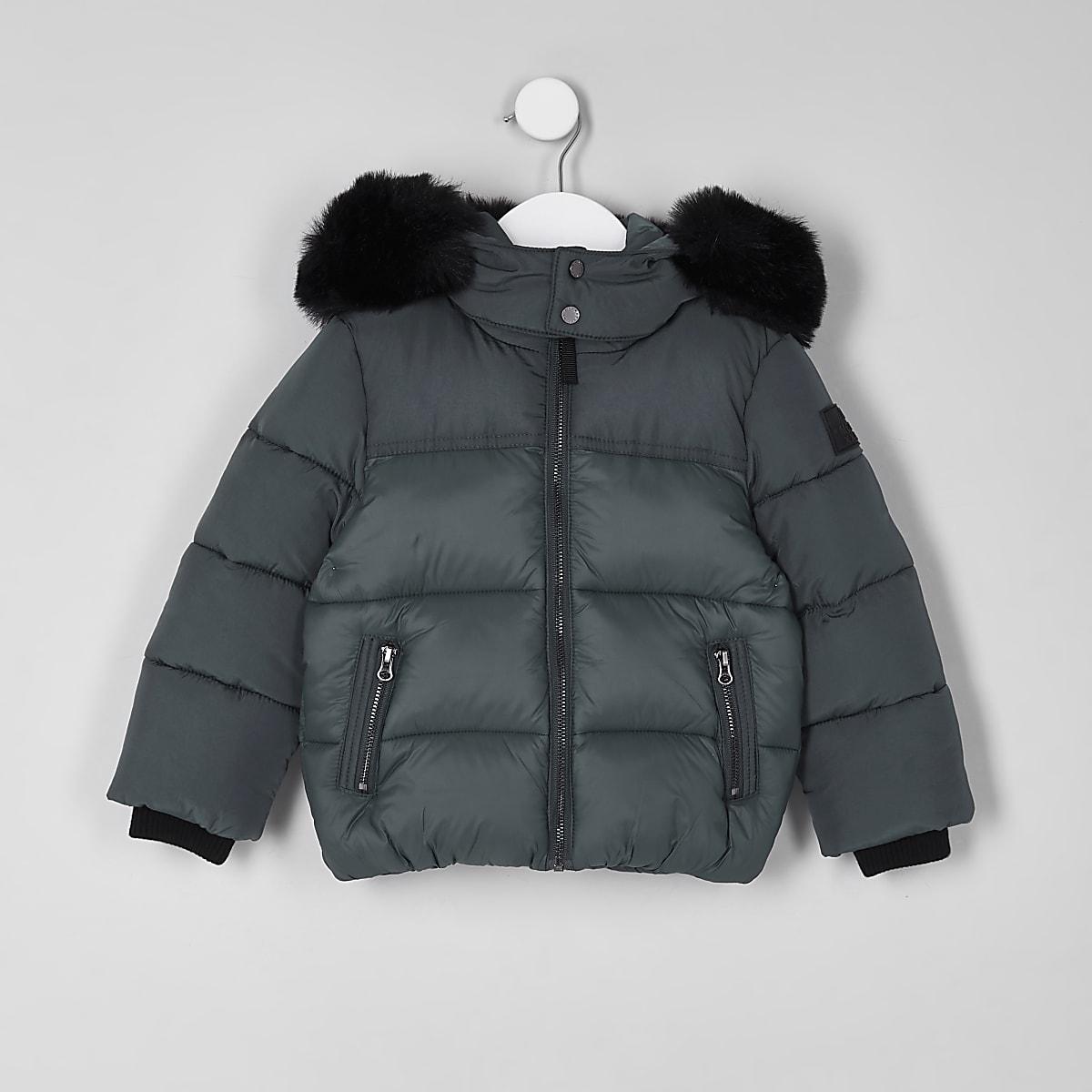 a0bebd3a1 Mini boys green faux fur hood puffer coat - Baby Boys Coats ...