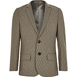Boys brown check suit blazer
