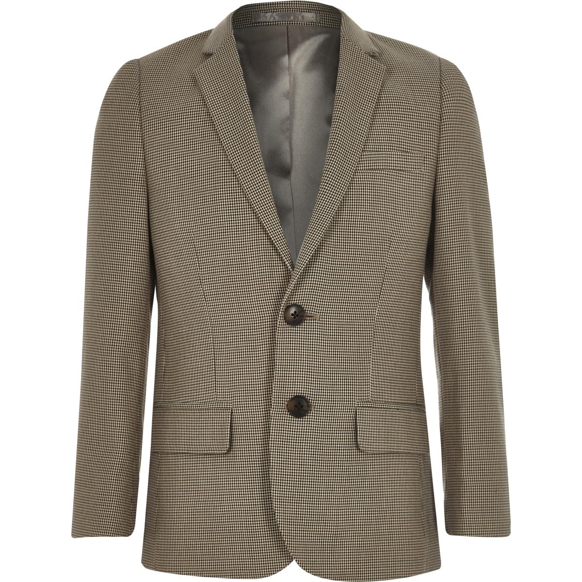 Bruine geruite kostuumblazer voor jongens