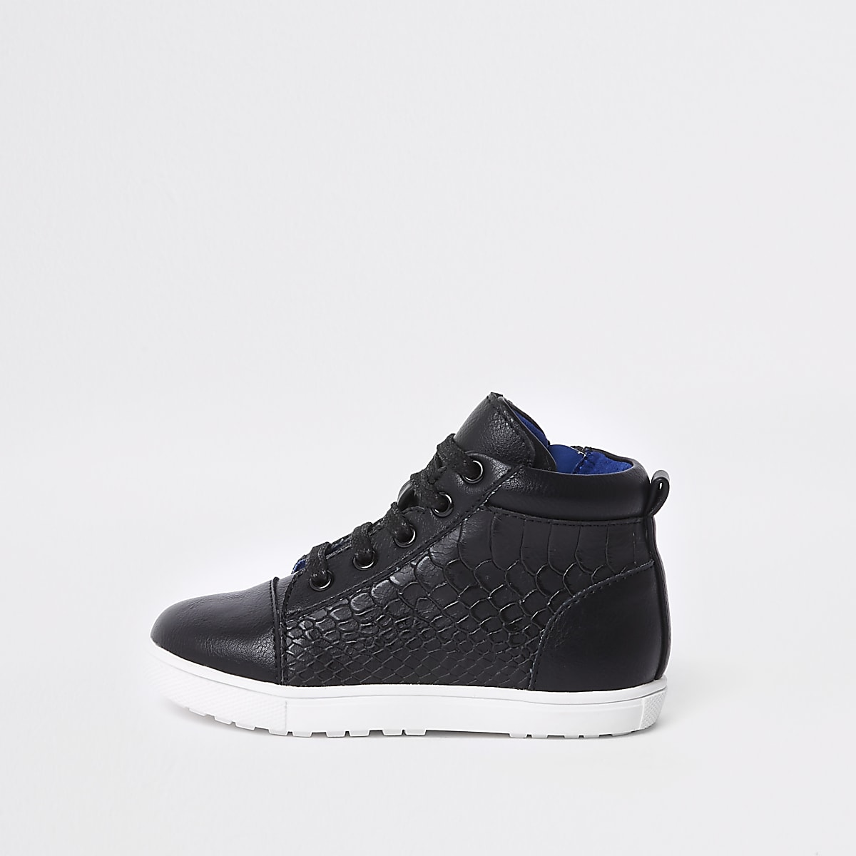 Mini boys black croc high top sneakers