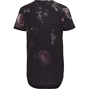 Boys dark blue Concept floral T-shirt