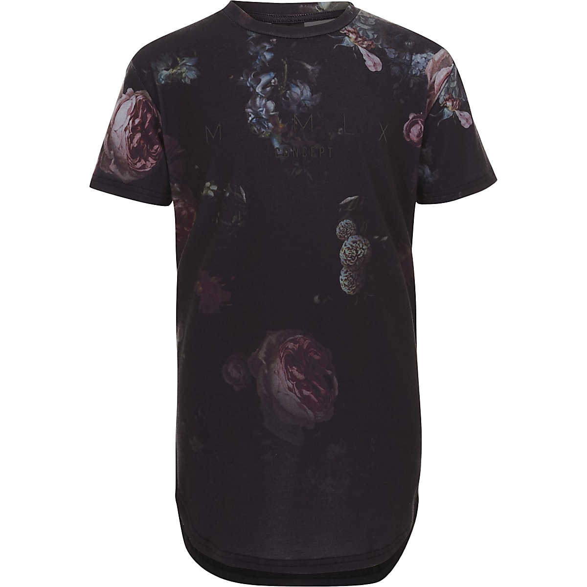 Boys dark blue Concept floral T-shirt