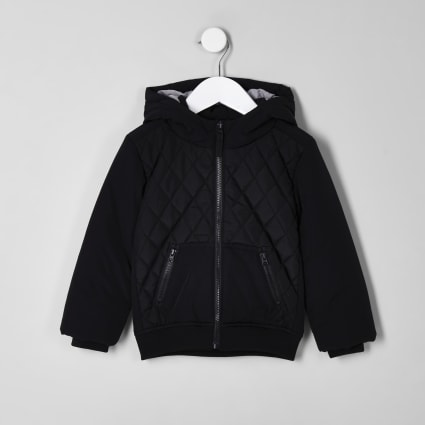 Mini boys black diamond quilted puffer jacket