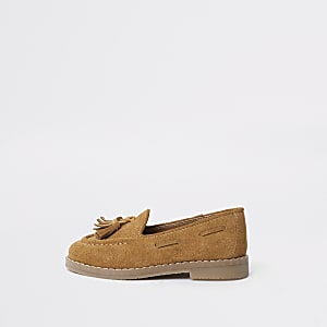 Mini boys light brown tassel loafers