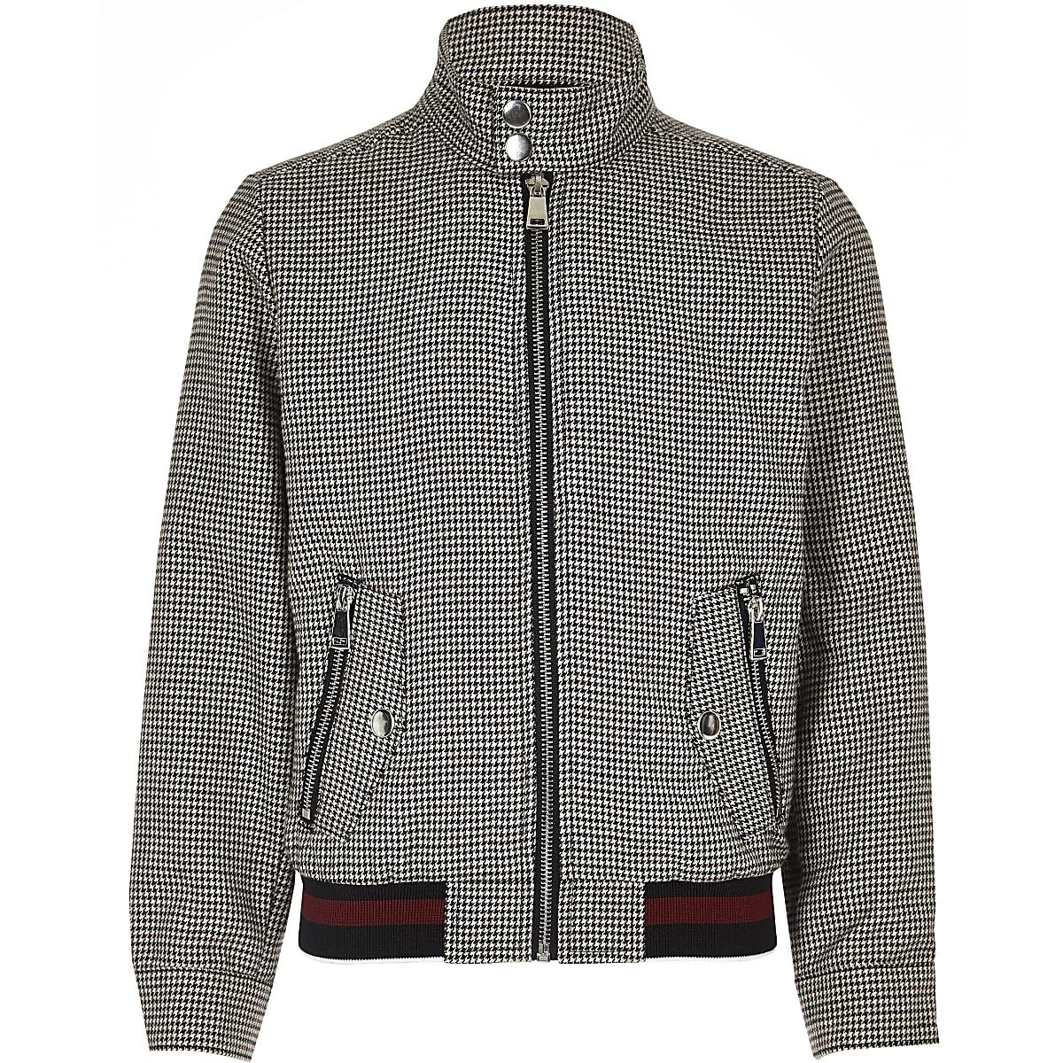 Boys brown check Harrington jacket